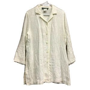 Harve Benard Cream Linen Top Button Front Tunic 12